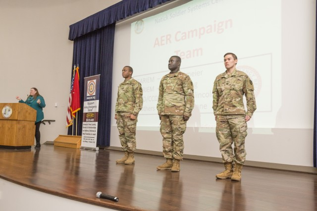 The NSSC AER Campaign Team. (L-R) Diane Magrane, Staff Sgt. Christian Kinglincoln, Sgt. Katakyie Sarpong, and Capt. William Neumeier.