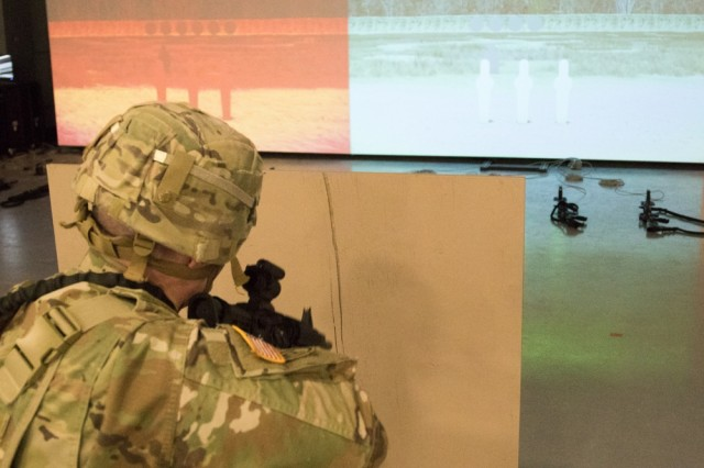 Soldiers from 10th Mountain Division were some of the first outside of training units to test the Squad Advanced Marksmanship-Trainer system March 20-21, 2019.