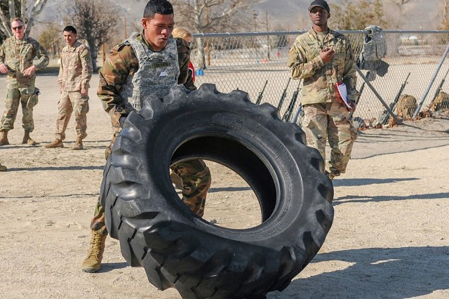 Pvt. Sione Lonitenisi of the Tongan Royal Marines competes in the squad maneuver lane portion of the Nevada Army Guard's Best Warrior contest on March 13, 2019. in Hawthorne, Nev. Four Tongan Marines competed alongside Nevada Army Guard Soldiers for the title of the Silver State's Best Warrior. Nevada has two partners in the State Partnership Program: The Kingdom of Tonga and the Republic of Fiji. Fiji is set to send participants for the contest next year.