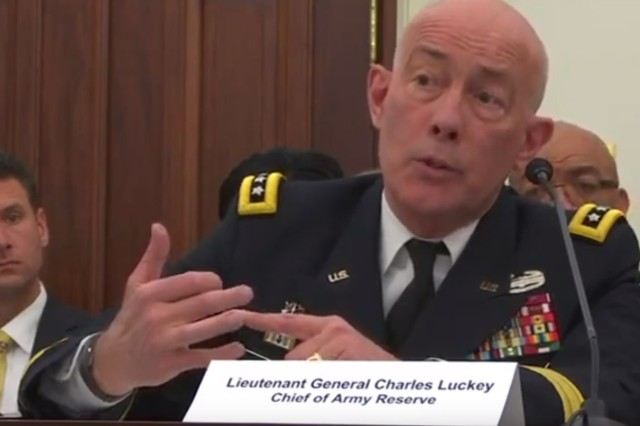 Lt. Gen. Charles Luckey, chief of the Army Reserve and commander of the U.S. Army Reserve Command, testifies to the House Appropriations Committee's Defense subcommittee at its Reserve Components hearing March 26, 2019.