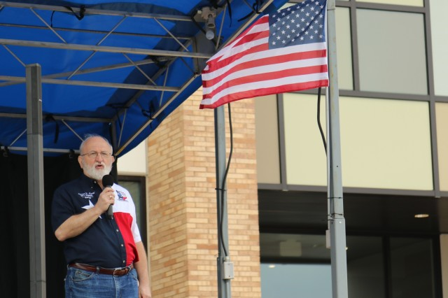 City of Harker Heights Mayor Spencer Smith, thanks the troopers and Families of the 3rd Cavalry Regiment during a welcome home celebration hosted by the city March 23, 2019, at Purser Family Park in Harker Heights, Texas.