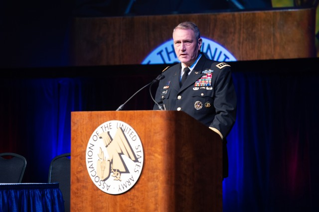Gen. John M. Murray, Army Futures Command commanding general, spoke about the Army's modernization priorities and multi-domain operation during the  Association of the U.S. Army's Global Force Symposium in Huntsville, Ala., March 26, 2019.