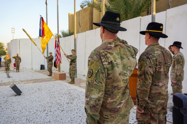 U.S. Army Col. Jonathan Byrom, commander of 3rd Cavalry Regiment, and Command Sgt. Maj. Adam Nash, 3rd Cav. Regt. sergeant major, salute during the playing of the Iraqi and U.S. national anthems during the transfer of authority ceremony between 3rd Cav. Regt. and 1st Brigade Combat Team, 101st Airborne Division, in Baghdad, Iraq, Jan. 23, 2019. The 3rd Cav. Regt. was deployed in support of Operation Inherent Resolve, working by, with and through the Iraqi Security Forces and Coalition partners to defeat ISIS.