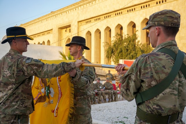 U.S. Army Command Sgt. Maj. Adam Nash, 3rd Cavalry Regiment sergeant major, and Col. Jonathan Byrom, commander of 3rd Cav. Regt., case the regimental colors during the transfer of authority ceremony between 3rd Cav. Regt. and 1st Brigade Combat Team, 101st Airborne Division, in Baghdad, Iraq, Jan. 23, 2019. The 3rd Cav. Regt. was deployed in support of Operation Inherent Resolve, working by, with and through the Iraqi Security Forces and Coalition partners to defeat ISIS.