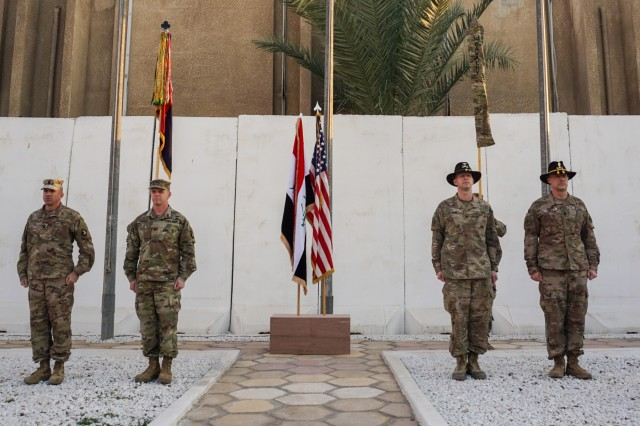 U.S. Army Command Sgt. Maj. Wray Gabelmann, 1st Brigade Combat Team, 101st Airborne Division, sergeant major, Col. Derek Thomson, 1st Brig., 101st Division commander, Col. Jonathan Byrom, commander of 3rd Cavalry Regiment, and Command Sgt. Maj. Adam Nash, 3rd Cav. Regt. sergeant major, complete the transfer of authority between 3rd Cav. Regt. and 1st Brig., 101st Division, in Baghdad, Iraq, Jan. 23, 2019. The 3rd Cav. Regt. was deployed in support of Operation Inherent Resolve, working by, with and through the Iraqi Security Forces and Coalition partners to defeat ISIS.
