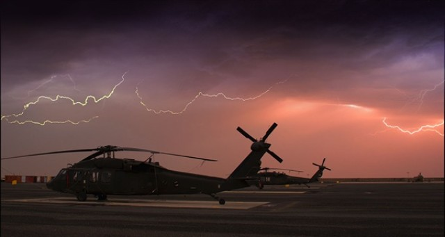 A bolt of lightning lit up the immediate area with a brilliant flash accompanied by the sound of electricity moving over the outside skin of the aircraft. The hair on my arms and neck literally stood