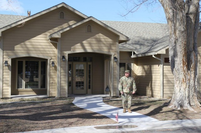 Sgt. 1st Class Timothy Bennett exits his assigned quarters at Sierra Army Depot, California. Bennett lives in the depot's only assigned housing.