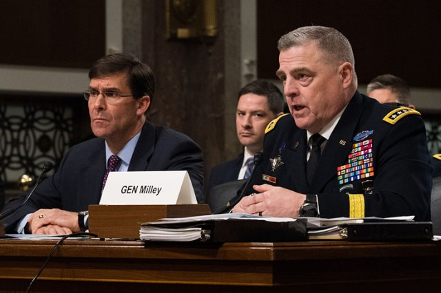 Secretary of the Army Mark T. Esper (left) and Chief of Staff of the Army Gen. Mark Milley speak to members of the Senate Armed Services Committee during a posture hearing March 26, 2019. Milley said the service's proposal will enable the National Guard will increase its operations tempo.