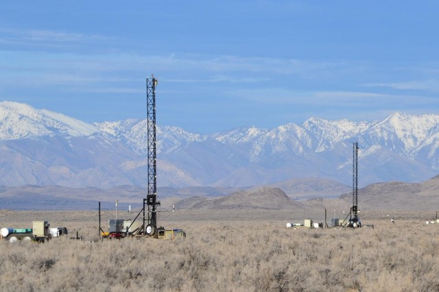 10-meter towers raised in place with instrumentation affixed, ready to test chemical or biological detectors with simulated agent. Northwestern Utah, where Dugway Proving Ground is located, adds authenticity because it geographically resembles the Middle East. U.S. Army photo