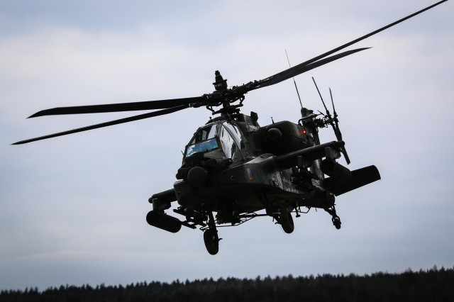 An AH-64 Apache helicopter with 1st Battalion, 3rd Aviation Regiment, 12th Combat Aviation Brigade, secures an area during a combined arms live-fire exercise, or CALFEX, in Grafenwoehr Training Area, Germany, March 28, 2018. Source selection for the Army's newest Future Attack Reconnaissance Aircraft, or FARA, is underway and could replace about 50 percent of the Army's aging Apache fleet.