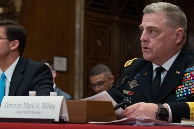 Army Chief of Staff Gen. Mark A. Milley and Secretary of the Army Mark T. Esper deliver testify before the U.S. Senate Committee on Appropriations, subcommittee on Defense, about the posture of the Department of the Army in review of the Defense Authorization Request for Fiscal Year 2020 and Future Years of Defense Programs, at the Dirksen Senate Office Building, Washington, D.C., March 27, 2019.