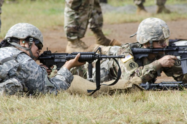 Soldiers assigned to U.S. Army Pacific-Support Unit, 9th Mission Support Command, Army Reserve, fire M4 Carbine rifles for familiarization and qualification during a battle assembly at Schofield Barracks, Hawaii, March 23, 2019. Generally, weapons qualification is an annual requirement for the Army Reserve.