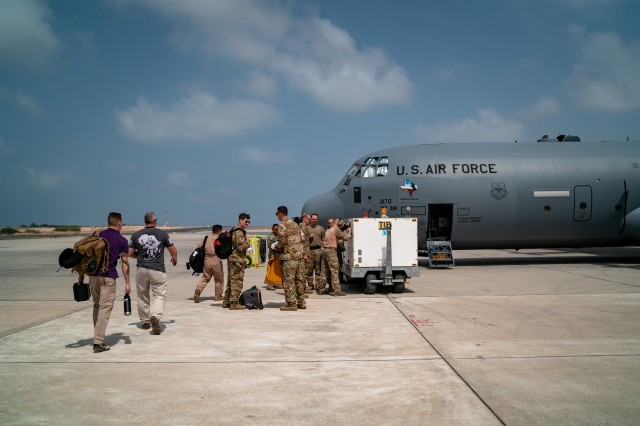 U.S. Airmen with the 449th Air Expeditionary Group supporting Combined Joint Task Force-Horn of Africa (CJTF-HOA), load supplies, personnel, and equipment onto a C-130J Hercules at Camp Lemonnier, Djibouti, March 26, 2019, for the U.S. Department of Defense's relief effort in the Republic of Mozambique and surrounding areas following Cyclone Idai. Teams from CJTF-HOA, which is leading DoD relief efforts, began immediate preparation to respond following a call for assistance from the U.S. Agency for International Development's Disaster Assistance Response Team.