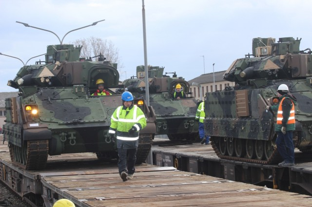Army Field Support Battalion-Mannheim personnel stage Army Prepositioned Stocks 2 in preparation for a large-scale equipment issue to the 2nd Armored Brigade Combat Team, 1st Armored Division, March 13, at Coleman Work Site, Mannheim, Germany. The equipment is part of APS-2's BCT equipment set to support the ongoing Emergency Deployment Readiness Exercise at Drawsko Pomorskie Training Area, Poland.  APS-2 is managed and maintained by the 405th Army Field Support Brigade