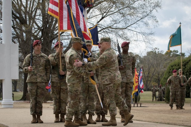 Gen. Michael X. Garrett assumes command of the United States Army Forces Command from Gen. Mark A. Milley, Chief of Staff of the United States Army, through the tradition of passing the unit guidon during the assumption of command ceremony at Fort Bragg, N.C., March 21, 2019. FORSCOM is the Army's largest command and provides expeditionary, campaign-capable land forces to commanders.