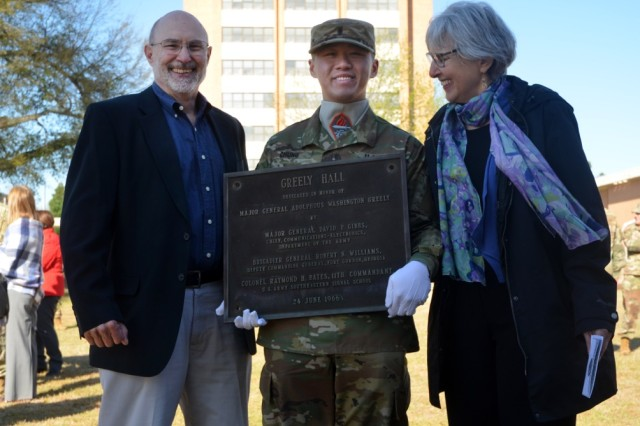 First Lieutenant Andrew Chung, 442nd Signal Battalion, pauses for a picture March 27 with two descendants of Medal of Honor recipient and Greely Hall namesake Adolphus Greely: Jack Greely (great-grandson), of Leonardtown, Maryland; and Alice Greely Nelson (great-granddaughter), of Baltimore.