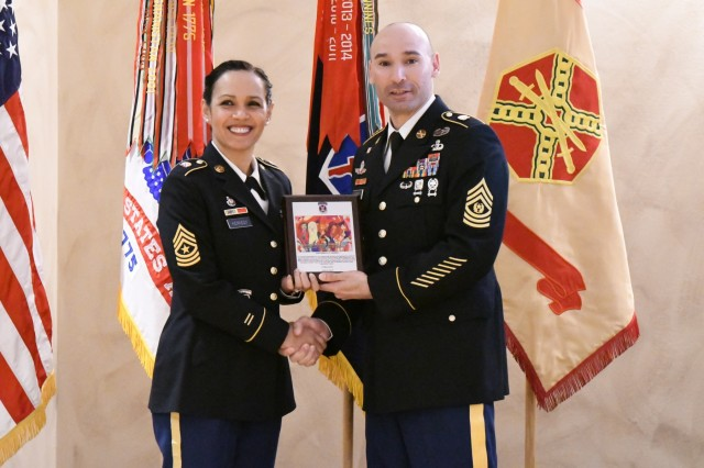 Members of the Fort Drum community gathered March 27 at the Commons to celebrate Women's History Month with an observance hosted by the 10th Mountain Division Artillery. As guest speaker, Sgt. Maj. Rebeca Kennedy, 10th Mountain Division G-1 sergeant major, spoke about how women's history is America's history. (Photo by Mike Strasser, Fort Drum Garrison Public Affairs)