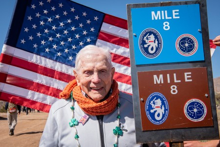 Col. Ben Skardon, a 1938 graduate of Clemson University, WWII POW, recipient of two Silver Stars, and survivor of the Bataan Death March, poses at the mile 8 marker of the Bataan Memorial Death March at White Sands Missile Range, N.M., March 17, 2019. Skardon came to White Sands to walk in the march for the 12th time. He is 101 years old, and the only survivor of the actual death march to walk in the memorial march.