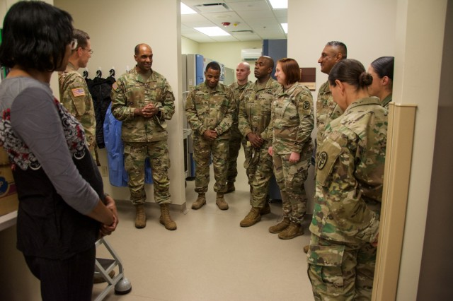 FORT BENNING, Ga. -- Military and civilian staff of the Sullivan Memorial Blood Center located at Fort Benning brief Maneuver Center of Excellence Commanding General Maj. Gen. Gary M. Brito on the center's contributions and capabilities in relation to the Armed Services Blood Program during his visit to the facility March 22, 2019. The ASBP is the official blood collection, manufacturing and transfusion program for the U.S. military, and provides blood products and services for all worldwide customers in both peace and war. (U.S. Army photo by Megan Garcia, Fort Benning Maneuver Center of Excellence Public Affairs)