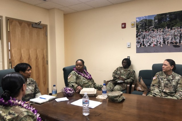 FORT SHAFTER FLATS, Hawaii -  Ninth Mission Support Command U.S. Army Reserve leaders Col. Patricia Wallace, Commander of the U.S. Army Pacific - Support Unit (center left), Chief Warrant Officer 4 Catrina Hale, 9th Mission Support Command Senior Legal Advisor 9center), and 9th MSC Command Sgt. Maj. Jessie Baird (left) conduct a panel discussion in observance of the 2019 Women's History Month. The National Women's History Month theme for 2019 is Visionary Women: Champions of Peace and Nonviolence. This theme honors women who have shaped America's history and its future through their tireless commitment to ending discrimination against women and girls.  The event offered an opportunity for three different career paths of officer, noncommissioned officer and warrant officer to connect reflect and motivate by reflecting on their own histories and offering advice and mentorship from their own experiences.