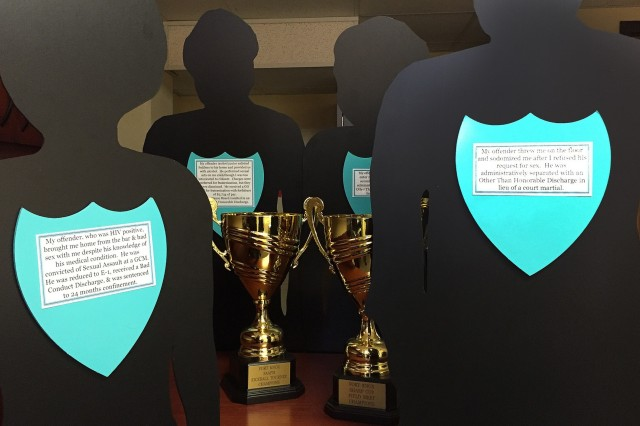 Silhouetted figures with sexual harassment and assault awareness messages as well as two competition trophies are just a few of the many Sexual Assault Awareness and Prevention Month events that people at Fort Knox will encounter throughout the month of April 2019.