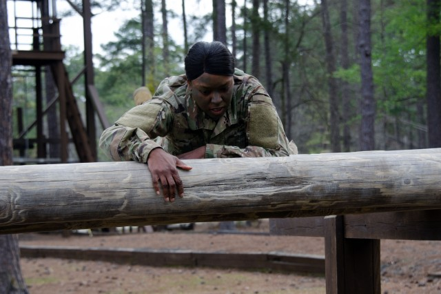 Staff Sgt. Chasity Moment, a drill sergeant with Company A, 3rd Battalion, 39th Infantry Regiment, completes some of the physical challenges of this year's Drill Sergeant of the Year competition.