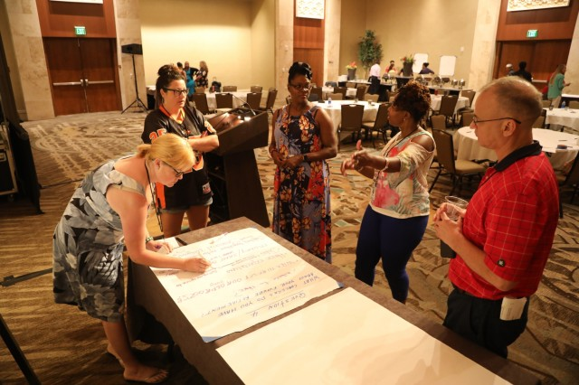 Executive Enlisted spouses were separated from their Soldiers to write down and discuss the challenges they face as an Army family at the first Executive Enlisted Strong Bonds retreat in downtown Honolulu, Hawaii March 23-24, 2019.