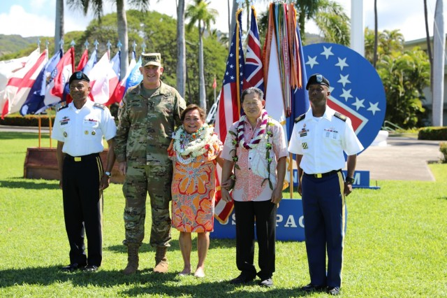 "U.S. Army Pacific Commanding General, Robert B. Brown, posed with Mrs. Lindy Napoleon, and her husband Nappy Napoleon, who has worked as an executive assistant to 11 USARPAC commanding generals, including General Brown. She has worked with the U.S. Army as a civil servant for the last 52 years.""Lindy is amazing,"" said Brown to the crowd. ""Anyone who knew Lindy, knew she never had a bad day, therefore no one that worked with her could have a bad day."""
