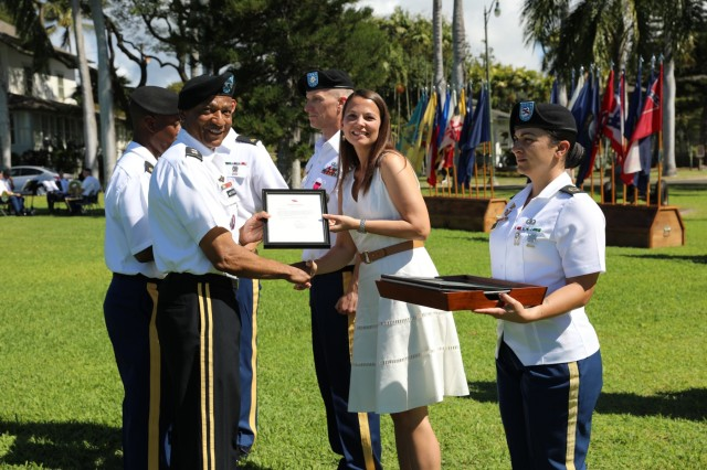 Lt. Col. Rudder and his wife Rebecca Rudder are honored at the U.S. Army Pacific Celebration of Service ceremony Mar. 21, 2019 at Fort Shafter, Hawaii.