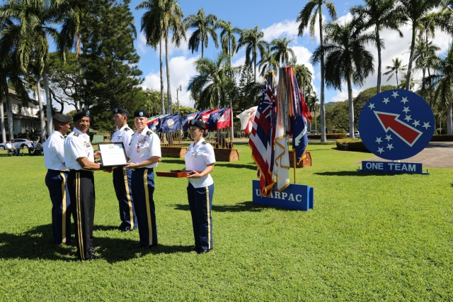 Lt. Col. Jeffrey A. Fritz, is honored at the Celebration of Service ceremony, March 21, 2019, at Fort Shafter, Hawaii
