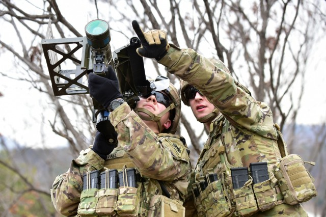 Soldiers with 2nd Squadron, 13th Cavalry Regiment, 3rd Armored Brigade Combat Team (Rotational), conduct hands-on training with the FIM-92 Stinger, a man-portable air defense system, to enhance readiness, March 14. The 2nd Infantry Division/ROK-U.S. Combined Division hosted a mobile training team from U.S. Army Air Defense Artillery School to certify designated teams on proper use of the Stinger air defense missile.