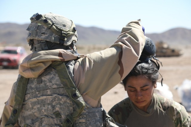 Soldier decontamination at National Training Center