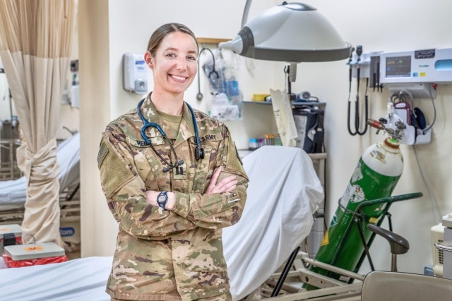 Capt. Heather Meier, 452d Combat Support Hospital, recently graduated from Jefferson College Physician Assistant Program with a master's degree.  She completed her clinical rotations during her deployment in support of Operation Spartan Shield at Camp Arifjan, Kuwait. (U.S. Army Reserve photo by Sgt. Philip Ribas)