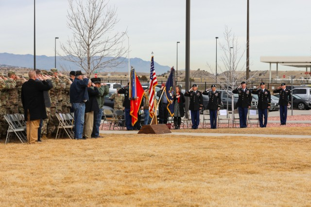 Veterans of the Battle of Suoi Tre salute during a memorial and dedication ceremony, March 21, 2019, on Fort Carson, Colorado. The 2nd Battalion, 77th Field Artillery Regiment, 2nd Infantry Brigade Combat Team, 4th Infantry Division honored the anniversary of the battle, its veterans and fallen Soldiers. (U.S. Army photo by Staff Sgt. Neysa Canfield)