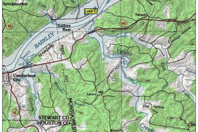 This is a map showing the location of Lock C on the Cumberland River in Montgomery County, Tenn