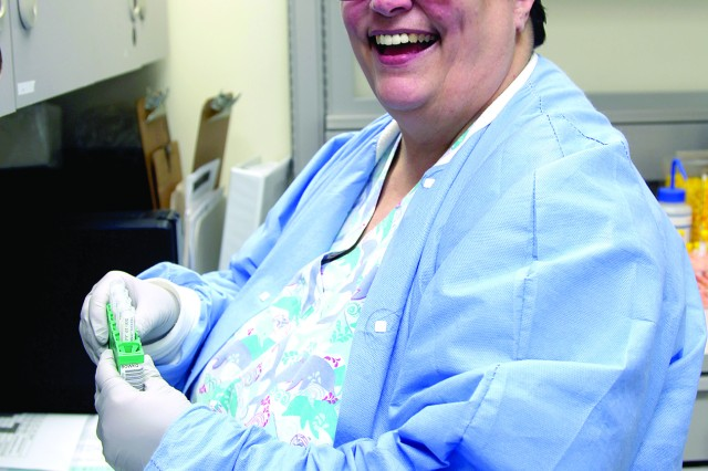 Brenda Brubeck, laboratory technician, is one of the last members of the Women's Army Corps. She has been at Eisenhower Army Medical Center since 1978. (Photo by Davie M. White/RELEASED)
