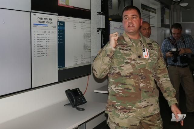 Lt. Col. Thomas Monaghan, product manager for Cyber Resiliency & Training, conducts a presentation for senior military leaders, to explain Cyber Anvil, a Persistent Cyber Training Environment held event in mid-February at the Johns Hopkins University Applied Physics Laboratory in Laurel, Md.