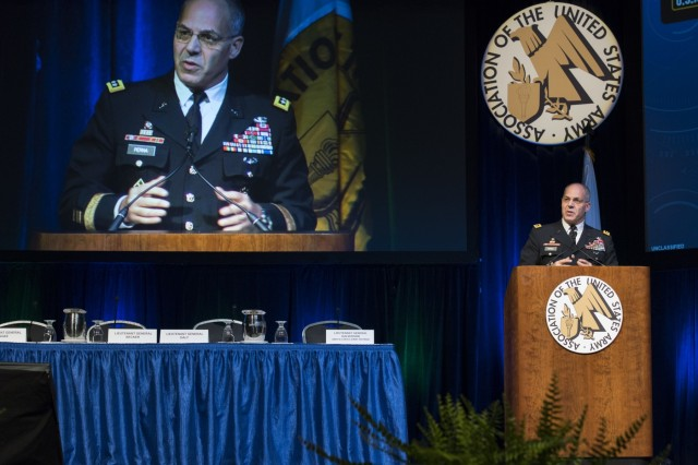 During the Association of the U.S. Army Global Force Symposium and Exposition March 27, 2019,Gen. Gus Perna, commanding general of the Army Materiel Command, gave opening remarks that were followed by a panel discussion on Operationalizing the Strategic Area in Support of Multi-Doman Operations. (U.S. Army Photo by Rick Bumgardner)