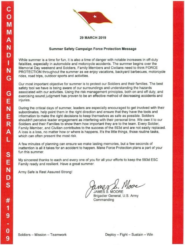 RA6 Spring/ Summer 2019 Safety Message