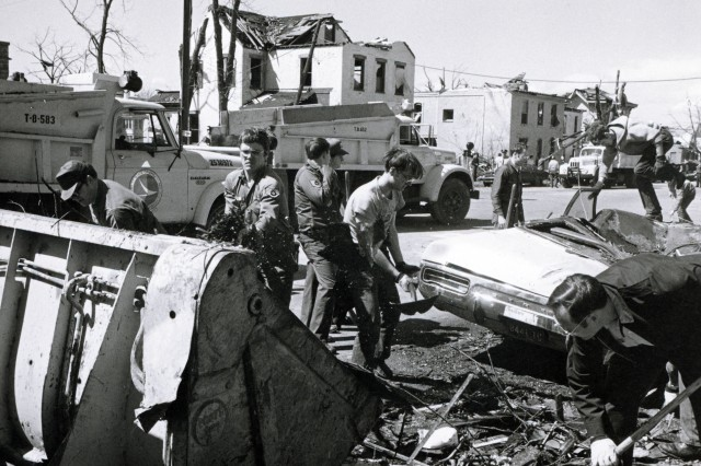 Ohio National Guard Airmen on state active duty assist in the cleanup efforts in Xenia, Ohio after an April 3, 1974, tornado. The F-5 storm that destroyed or damaged thousands of homes, businesses, and schools were responsible for 33 deaths, and hundreds more injured.