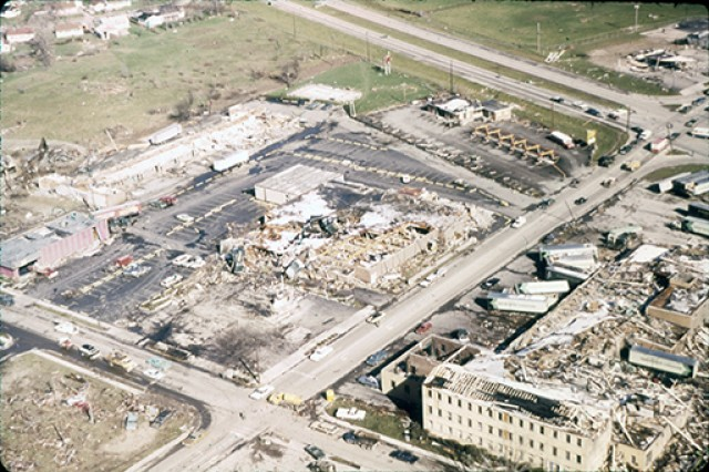 An aerial view of the devastation left behind after an F-5 tornado tore through Xenia, Ohio on April 3, 1974. Ohio National Guard Soldiers and Airmen, some of whom lived in the area, were called on to assist in recovery efforts for several weeks after the devastating storm, which killed 33 people and injured hundreds more.