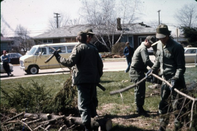 Ohio National Guard Soldiers on state active duty assist in the cleanup efforts in Xenia, Ohio, following April 3, 1974, tornado that destroyed or damaged thousands of homes, businesses, and schools. The F-5 tornado was responsible for 33 deaths, and hundreds more injured.