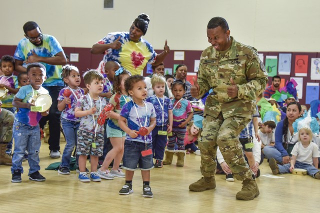 A Soldier joins in children's activities at child, youth and school services for Fort Stewart, Georgia.  Fort Stewart and Hunter Army Airfield are the 2019 Army Communities of Excellence Regular Army gold winners.