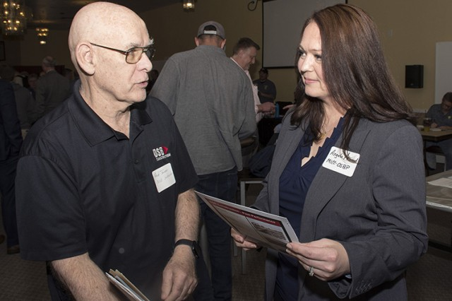 Angela Arwood-Gallegos, Small Business Professional from the Mission and Installation Contracting Command speaks with Reid Tanner of DSB Construction of American Fork, Utah. Approximately 85 owners and representatives of Utah small businesses attended the March 21, 2019 MICC Small Business Vendor Fair at Dugway Proving Ground, Utah. They learned about obtaining government contracts with Dugway. Photo by Al Vogel, Dugway Proving Ground Public Affairs.