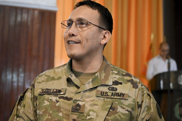 Sgt. 1st Class Hector Guillen, non-commissioned officer in charge of the State Partnership Program - Peru, responds to a question from a member of the audience during a training session held March 25, 2019, in Lima, Peru. Members of the West Virginia National Guard provided a week-long training on non-commissioned officer (NCO) development planning and implementation for the Peruvian Army's senior NCOs.