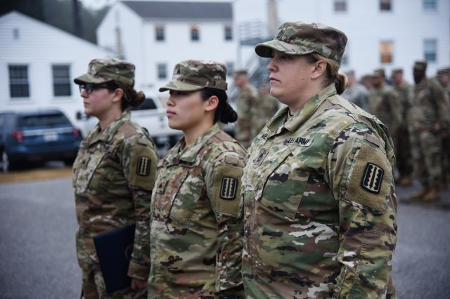 Sgt. 1st Class Michelle Homer, Sgt. Christina So and Sgt. Gella Johnson receive recognition for saving the life of Sgt. 1st Class Anthony Johnson last summer in a ceremony held March 10, 2019, at Fort Pickett, Va. Johnson collapsed on one of the last days of annual training for the 1710th Transportation Company, 1030th Transportation Battalion, 329th Regional Support Group, and his fellow Soldiers quickly jumped in and administered CPR for approximately six minutes before Johnson regained consciousness.