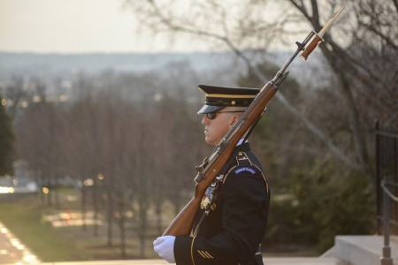 Staff Sgt. Garrett Golden, Badge #651, conducts his last walk on the plaza at the Tomb Of The Unknown Soldier, Arlington National Cemetery, March 22, 2019.