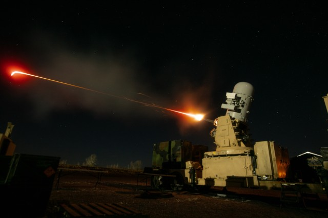 A 2nd Battalion, 44th Air Defense Artillery Regiment, 101st Airborne Division Sustainment Brigade, 101st Abn. Div., counter-rocket, artillery and mortar (C-RAM) fires March 27 at an aerial target at Fort Campbell, Ky. 2-44 ADA deploys to defeat air, and rocket, artillery, mortar threats through the integration of active defense, passive defense and attack operations by enabling efficiencies across all war fighting functions.  (US Army photo by Sgt. Patrick Kirby, 40th Public Affairs Detachment)