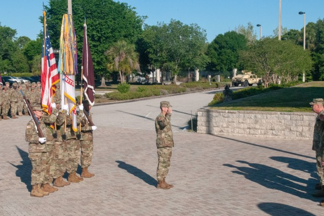 U.S. Army Reserve Maj. Gen. Mary E. Link, outgoing commanding general of Army Reserve Medical Command, relinquishes command to Maj. Gen. Jonathan Woodson, the new commanding general for ARMEDCOM headquartered in Pinellas Park, Florida, during a Change of Command ceremony held on Sunday, March 31, 2019.  The Change of Command ceremony symbolizes the continuation of leadership and unit identity despite the change of individual authority.  It also represents the transfer of power from one leader to another; passing the ceremonial flag from outgoing to incoming commander is a physical representation of that transfer. (Photos by Staff Sgt. Eric W. Jones)