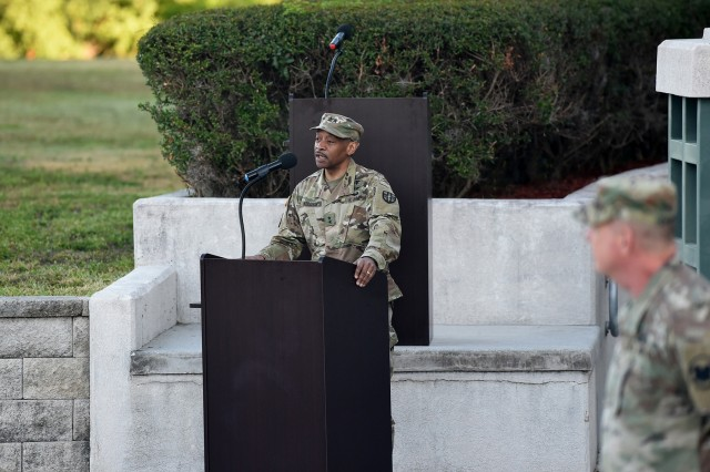 Maj. Gen. Jonathan Woodson, incoming commanding general for Army Reserve Medical Command, gives remarks during his promotion ceremony to major general. Maj. Gen. Scottie Carpenter, Deputy Commanding General for U.S. Army Reserve Command, presided over the ceremony for Woodson which was conducted on March 31, 2019 at the C. W. Bill Young Armed Forces Center in Pinellas Park, Florida. (U.S. Army Reserve photo by Anthony L. Taylor)